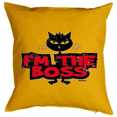 Gatos decorativos Cojín::: I M The Boss::: Vive kuscheliger Gatos de