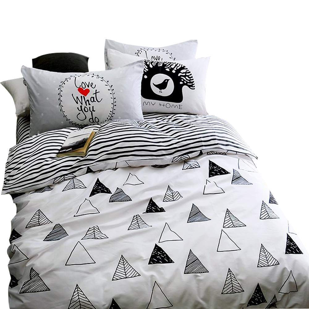 EnjoyBridal Teens Kids Bedding Comforter Cover Sets Twin Size Geometic Triangle Stripes Cotton Bedding Sets Children Bed 3 Pieces Home Textile 1 Duvet Cover with 2 Pillowshams, No Comforter
