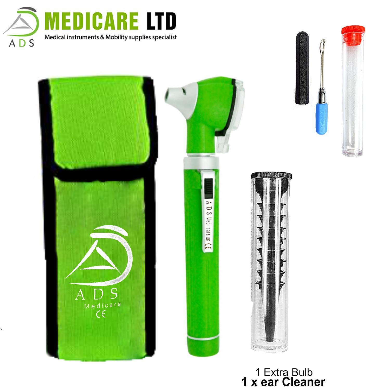 ADS Medicare - Mini otoscopio de fibra óptica ENT, iluminación LED, examen médico de diagnóstico, aprobado por la CE