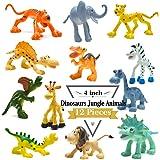 4 pouces Cartoon dinosaure chiffres avec les animaux de la forêt Set, 12 morceaux animaux en plastique sauvage et Dino Party Favors Jouets Play Set BigNoseDeer