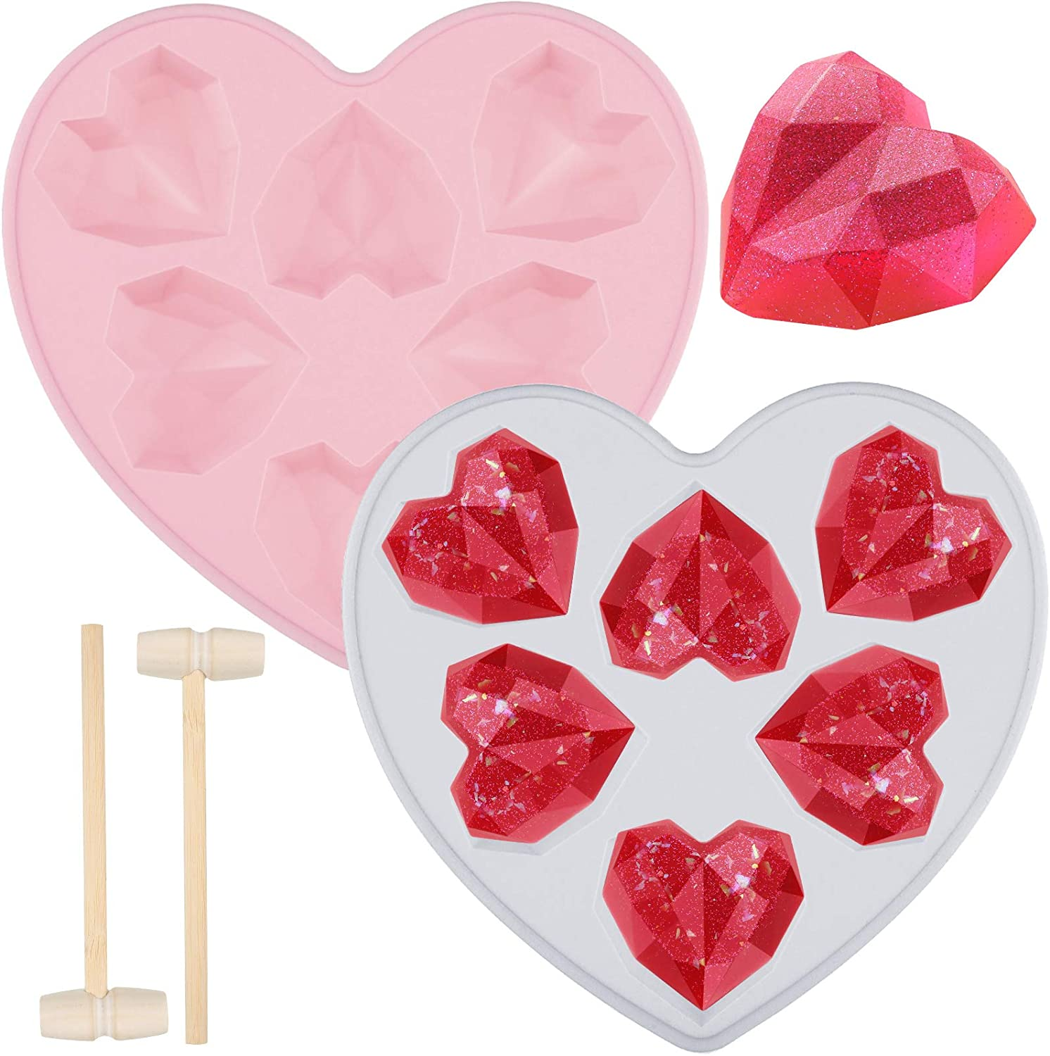 2 Pieces Diamond Heart Love Shape Silicone Valentine's Day Cake Mold Pink and Blue Silicone Cupcake Mold Oven Safe Chocolate Mousse Dessert Baking Pan with 2 Pieces Wooden Hammer Mallet Pounding Tool