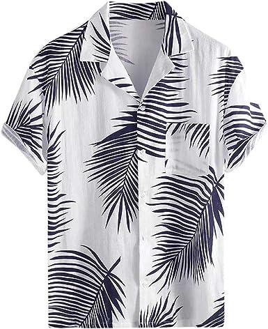 Camisa Hawaiana Hombres Camisa de Verano Botón de Playa ...