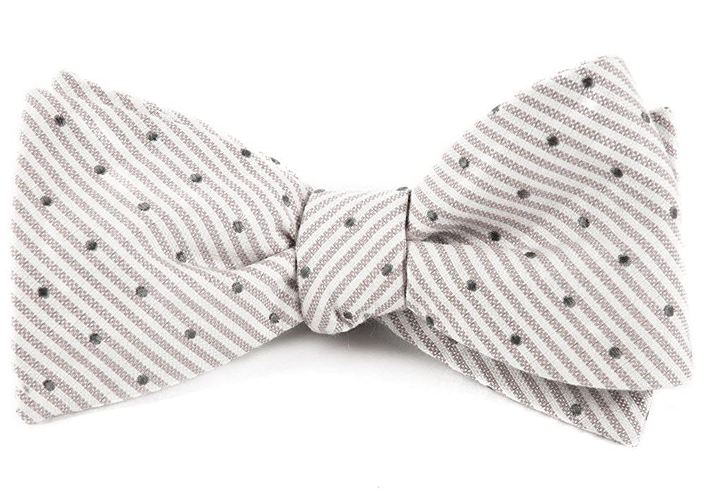 The Tie Bar 20/% Cotton//80/% Silk Down The Aisle Dots Silver Self-Tie Bow Tie