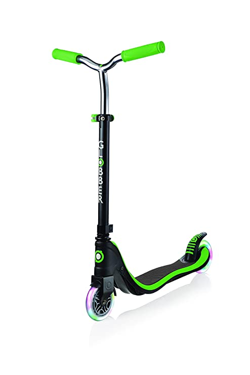 Globber Flow 125 [My Too Fix Up] Scooter - Kids Scooter - Negro / Neon Green- Globber