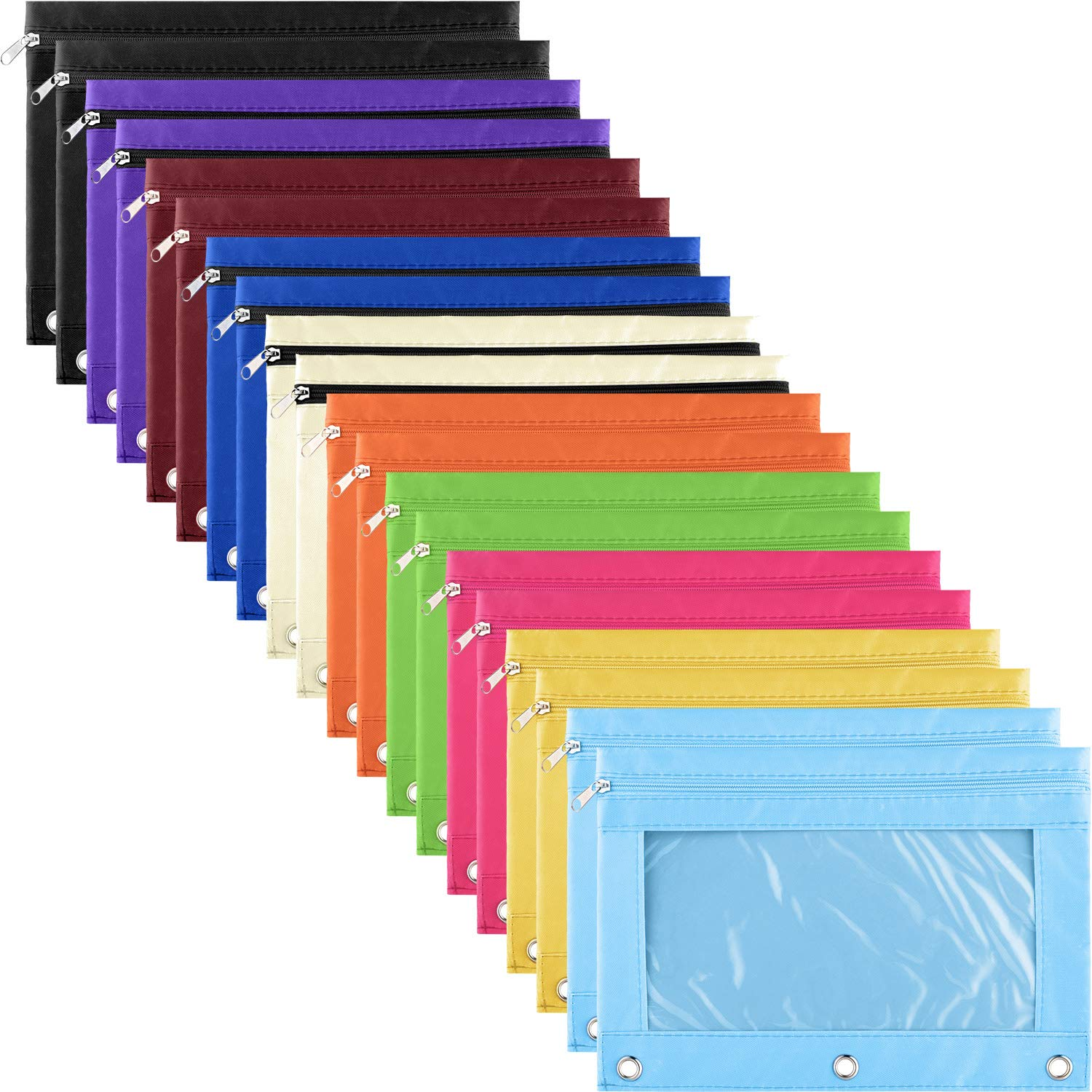 Binder Pencil Pouch 3 Rings Pencil Bags Stationery Bag with Zipper and Clear Window for Office Supplies (10 Colors, 20 Pieces) by Boao