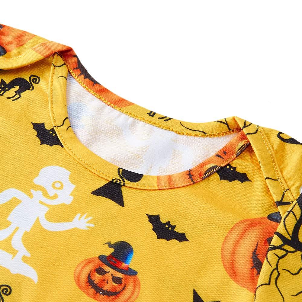 RAISEVERN Halloween Baby Unisex Ragazzi Ragazze Outfits Lovely Pumpkin Bodysuits Pants Hat 3pcs Set Newborn Gift 12-18M