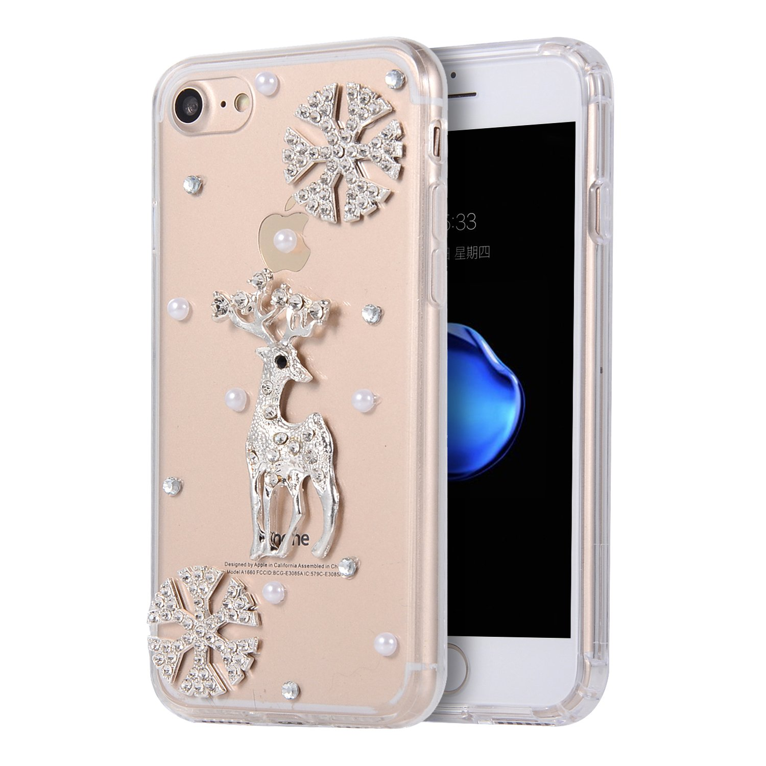 iPhone 8 Plus Transparent Case, iPhone 7 Plus Snowflake Case for Christmas, Gostyle Crystal Rhinestone Bling Glitter Diamond Hard Acrylic Phone Case with Soft TPU Bumper Frame and Built in Dust Plug.
