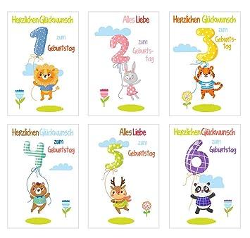 6 Schöne Geburtstagskarten Für Kinder Im Set Mit Umschlag 1 2 3 4 5 6 Jahre