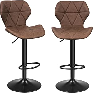 "SONGMICS Bar Stool, Set of 2, Kitchen Chairs with Stable Metal Frame, 22.4-31.1"", Dark Brown"