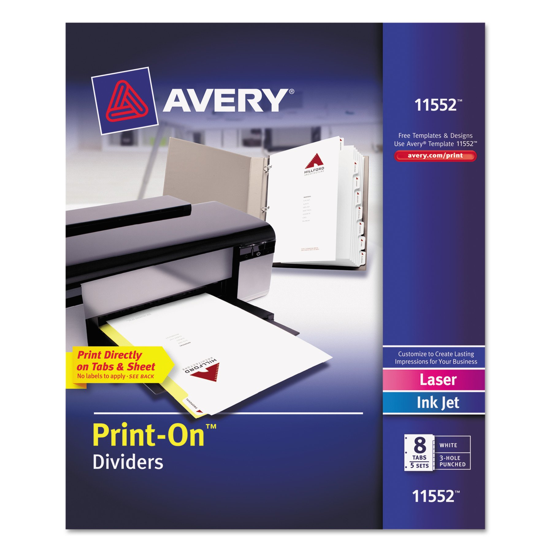 Avery Print-On Dividers, White, 8 Tabs, 5 Sets (11552)