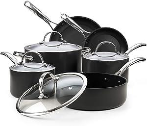 Cooks Standard 02677 Nonstick Hard Anodized Cookware Set, 10 Piece, Black