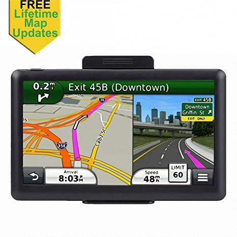 7 inch Car GPS, Navigation System for Cars Lifetime Map Updates Touch  Screen Real Voice Direction Vehicle GPS Navigator, Sat Nav