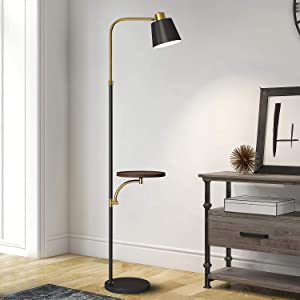 "OYEARS Modern Floor Lamp with Table for Living Room 65"" Tray Floor Lamp for Bedroom Minimalist Contemporary Floor Lamp for Home Standing Lamp with Shelf for Reading Office Black"