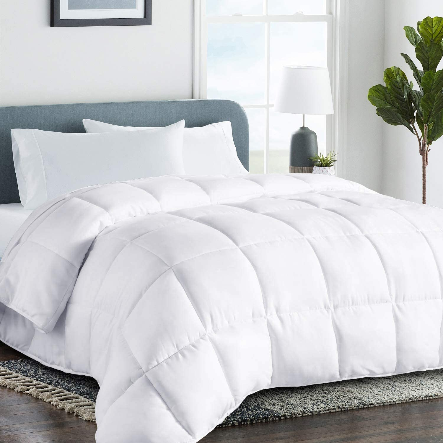 COHOME King 2100 Series Cooling Comforter Down Alternative Quilted Duvet Insert with Corner Tabs All-Season - Plush Microfiber Fill - Reversible - Machine Washable - White