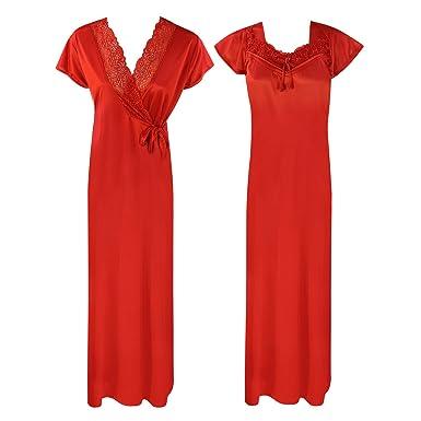 3e1c95d9a3 Ladies Long Nighty Womens Satin Lace Short Sleeve Nightdress Robe 2 Pcs Set -Red-