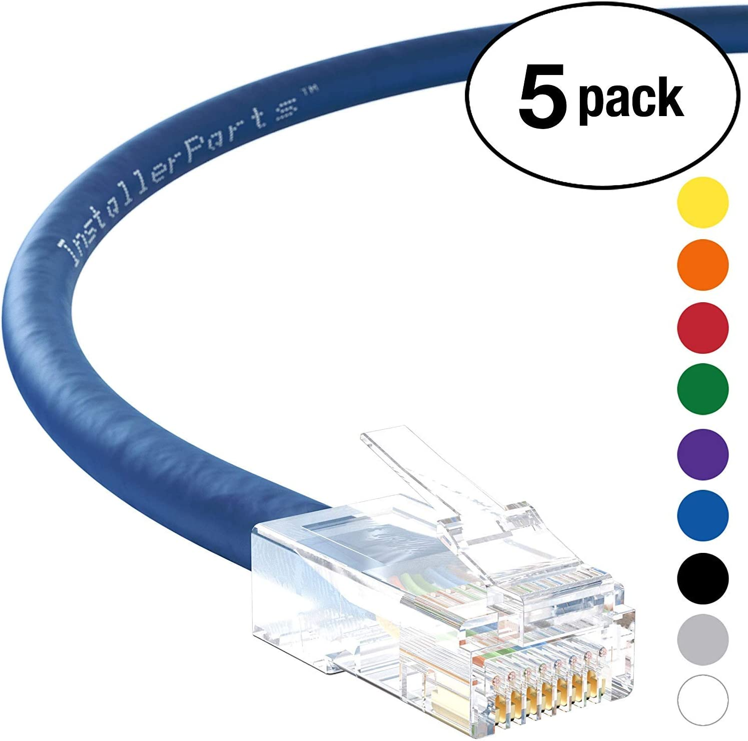550MHZ 10 Pack InstallerParts Ethernet Cable CAT6A Cable UTP Booted 3 FT Professional Series Blue 10Gigabit//Sec Network//High Speed Internet Cable