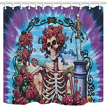 Rrfwq Weird Shower Curtain Human Skeleton Bride Skull With Rose Death And Romance Mildew Resistant Polyester