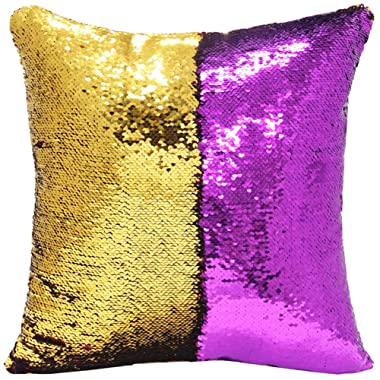 """URSKYTOUS Reversible Sequin Pillow Case Decorative Mermaid Pillow Cover Color Changing Cushion Throw Pillowcase 16"""" x 16"""",Purple and Gold"""