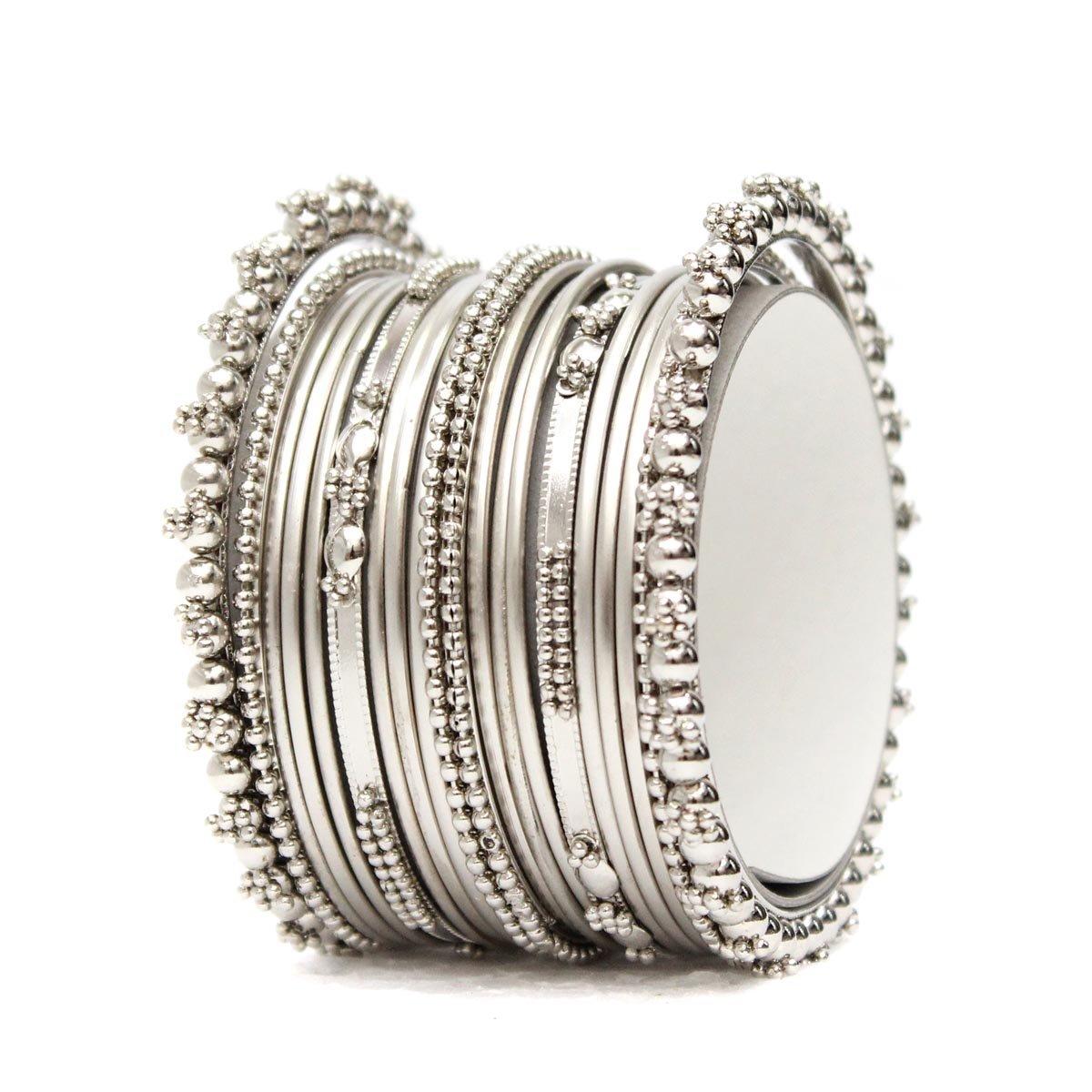 SANARA Antique Bollywood Style Silver Tone Bangle Bracelst Set 1 Pc Indian Jewelry (2.6)