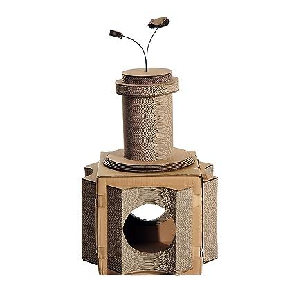 PawHut Rascador Árbol para Gatos de Cartón Corrugado con Cueva para Jugar y Arañar Altura de