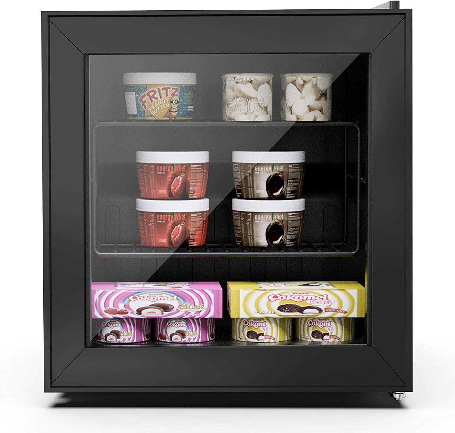 Northair Upright Freezer 1.1 cu. ft. with Three-layers Glass Door for Ice Cream/Breast Milk/Sea Food/High-alcohol Liquor, Glass Heating System,Removable Shelf, Adjustable Thermostat