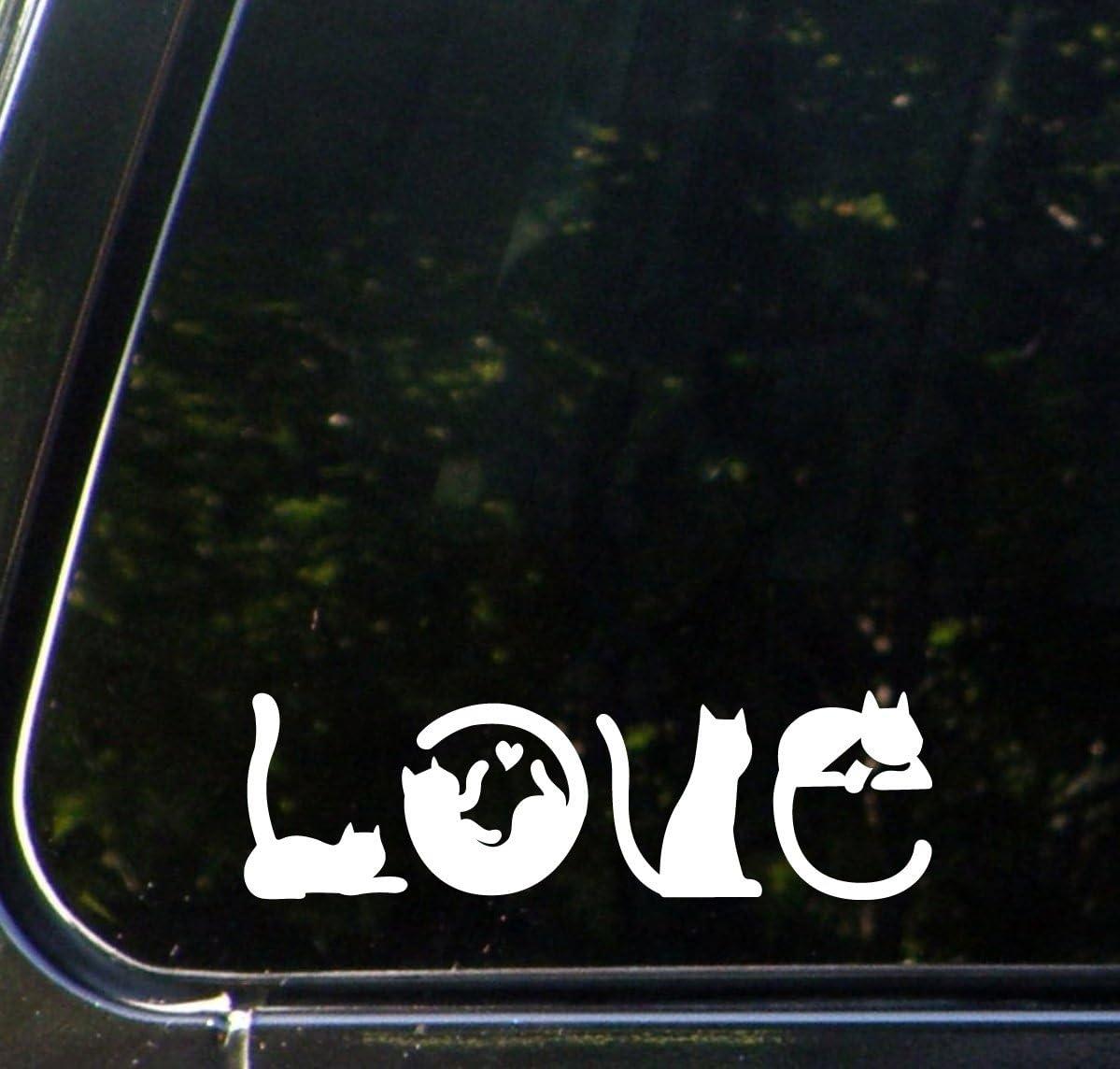 Yadda-Yadda Design Co. Cats Spell Love - Car Vinyl Decal Sticker - (6