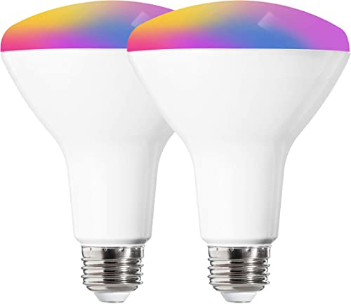 FLSNT BR30 LED Smart Light Bulbs,2700-6500K RGB Color Changing,LED 2.4G WiFi Light Bulbs Work