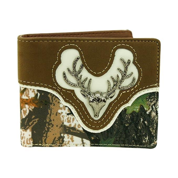 19d78910cd2c RIDE AWAY Western Deer Skull Leather Bifold Wallet W1123 Camo Brown