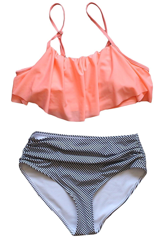 orange+stripe Asherbaby Women's Vintage Strapless Ruffle Tankini Striped High Waist Swimsuit