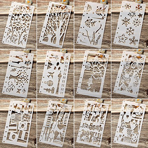 Stencil Leaf - Maxdot Drawing Loose Leaf Stencils Scale Template Sets Journal Diary Notebook 8-Ring Paper Inserts for Painting Card Craft Projects and Scrapbooking DIY Albums, 12 Pieces