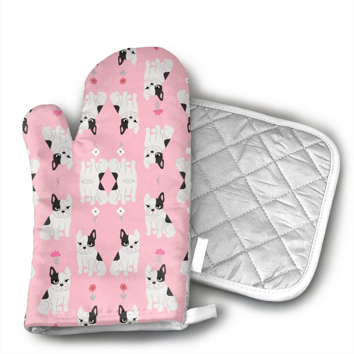 UYRHFS Frenchie Quilt French Bulldog Pink and Grey Cheate Oven Mitts and Pot Holder Kitchen Set with, Heat Resistant, Oven Gloves and Pot Holders 2pcs Set for BBQ Cooking Baking