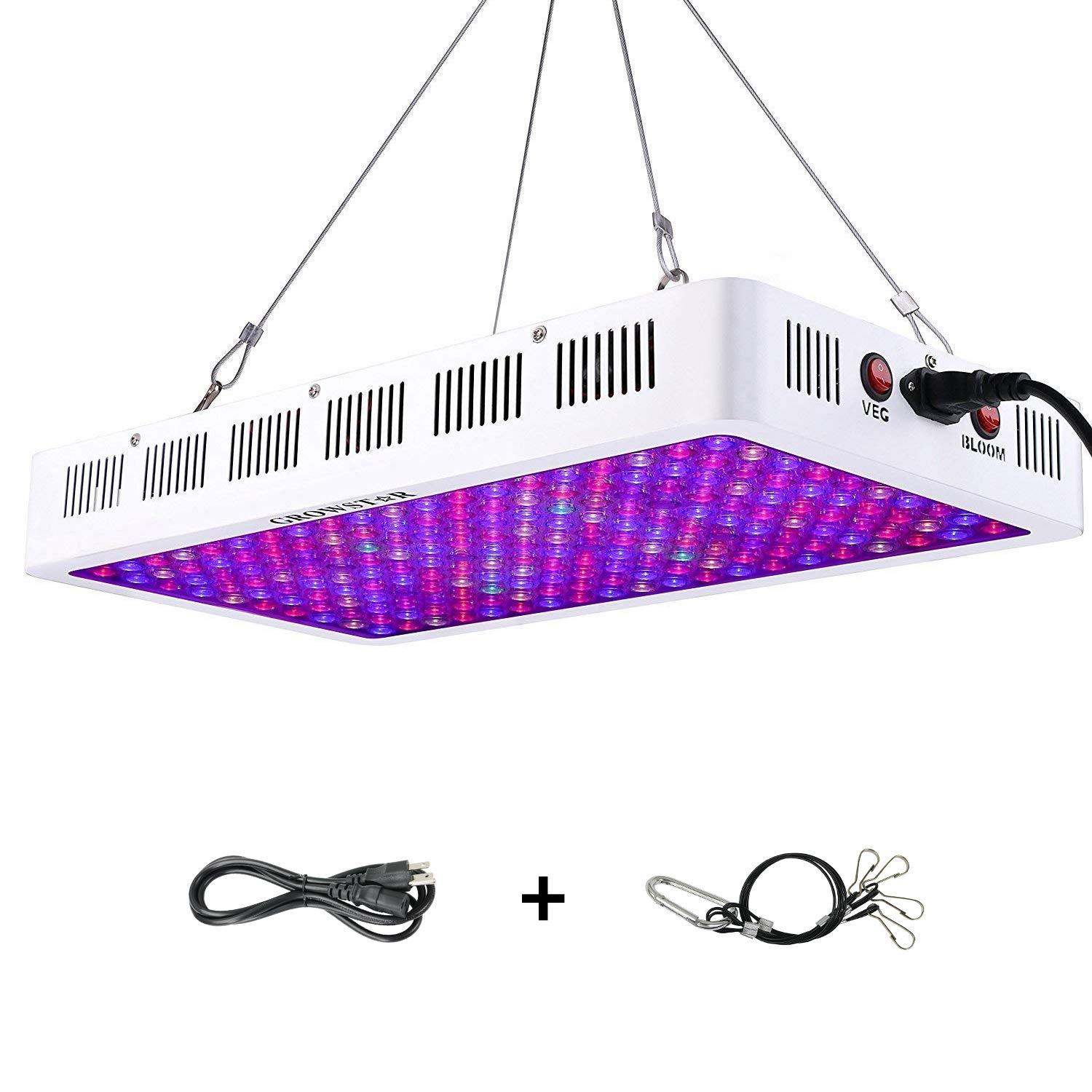 Growstar 1000w LED grow light along with an optical lens