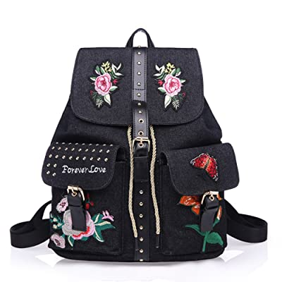 high-quality Chinese Embroidery CEREAL Girl's Backpack,Rivet Style