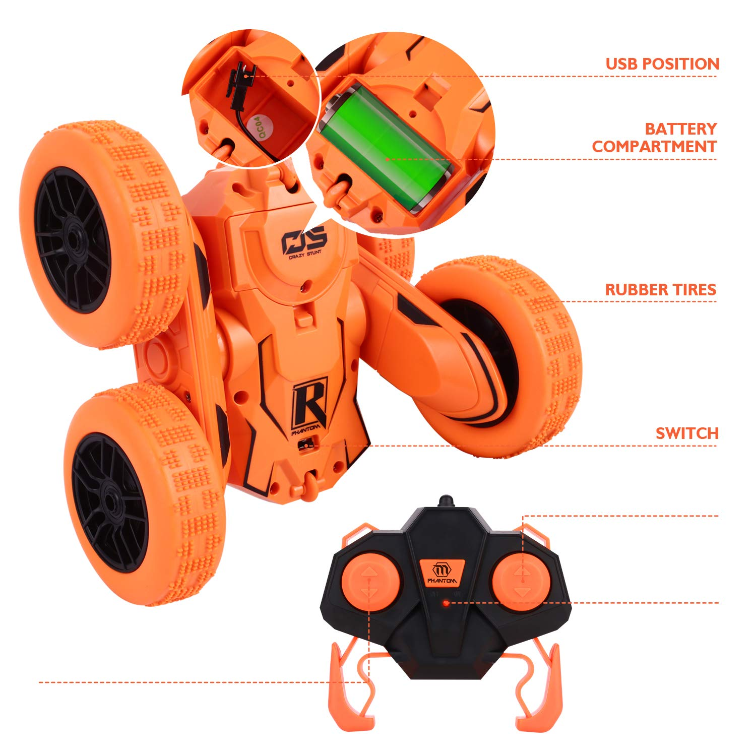 Peradix RC Car Remote Control Stunt Car For Kids, 360 Rotating 4WD Off Road Double Sided Rotating Tumbling - 2.4Ghz High Speed Rock Crawler Vehicle Children Birthday Gifts (Orange-Race Car)
