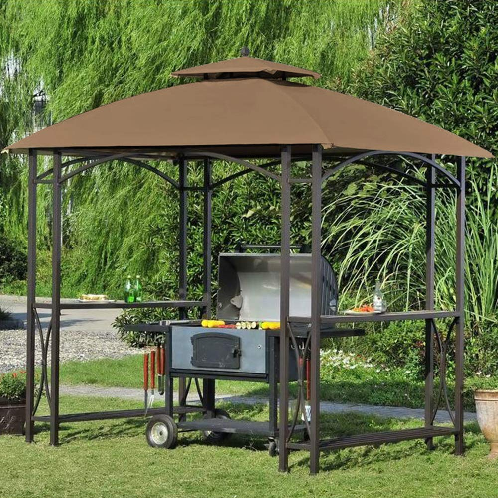 ABCCANOPY Canopy Roof Top Replacement L-GG040PST-A Grill Gazebo Canopy(Brown