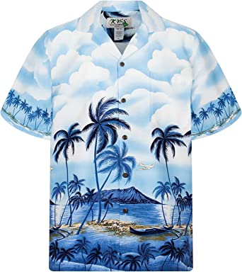 KYs | Original Camisa Hawaiana | Caballeros | S - 4XL | Manga Corta | Bolsillo Delantero | Estampado Hawaiano | Playa de palmeras azul: Amazon.es: Ropa y accesorios