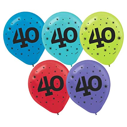 Amscan The Party Continuous 40th Birthday Printed Balloon Decoration Pack Of 20 Multi