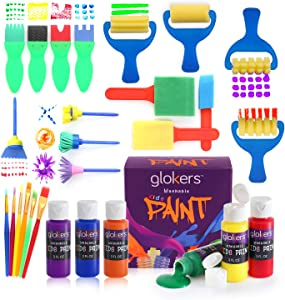 Glokers Early Learning Kids Paint Set, 28 Piece Mini Flower Sponge Paint Brushes. Assorted Painting Drawing Tools in a Clear Durable Storage Pouch. Including 6 Washable Kids Paint