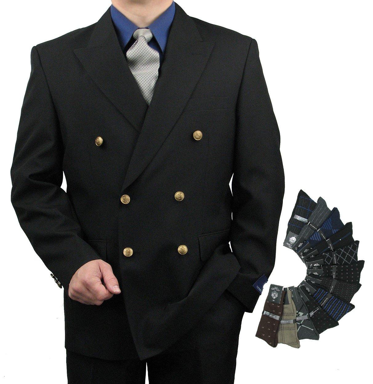 Men's Classic Fit Double-Breasted Blazer Jacket Sports Coat w/One Pair Of Dress Socks - Black 44L