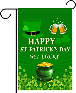 WEBSUN St. Patrick's Day Garden Flag Double Sided Irish Green 12 x 18 Inch, Shamrocks Garden Flag for Garden & Home Decorations