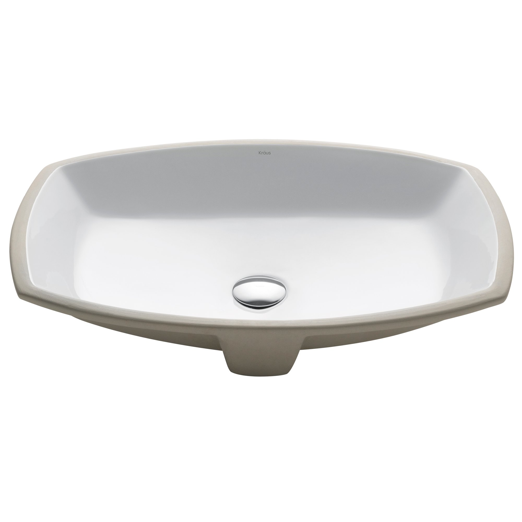 KRAUS Elavo 24-Inch Rectangular Undermount Porcelain Ceramic Bathroom Sink in White with Overflow, KCU-261