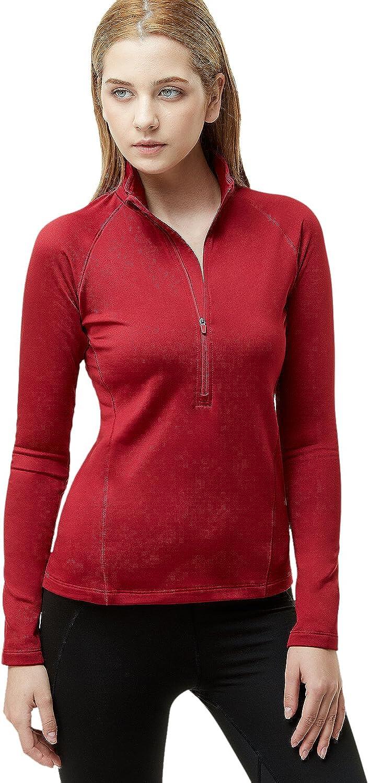 TSLA Womens Winterwear Sporty Slim Fit 1//2 Zip Fleece Lining Pullover