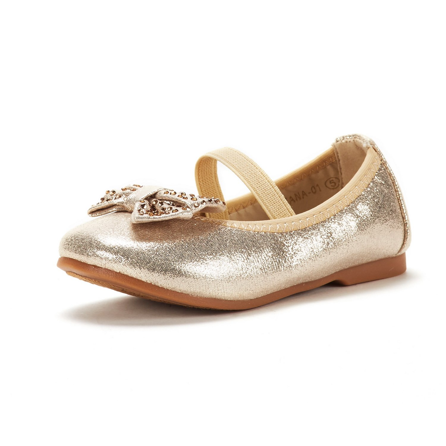 DREAM PAIRS Toddler Tiana_01 Gold Girl's Mary Jane Ballerina Flat Shoes Size 6 M US Toddler