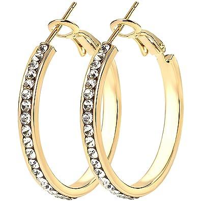 f8385904e Diamante Cubic Zirconia CZ Womens Hypoallergenic Hoop Earrings (30mm Gold):  Amazon.co.uk: Jewellery