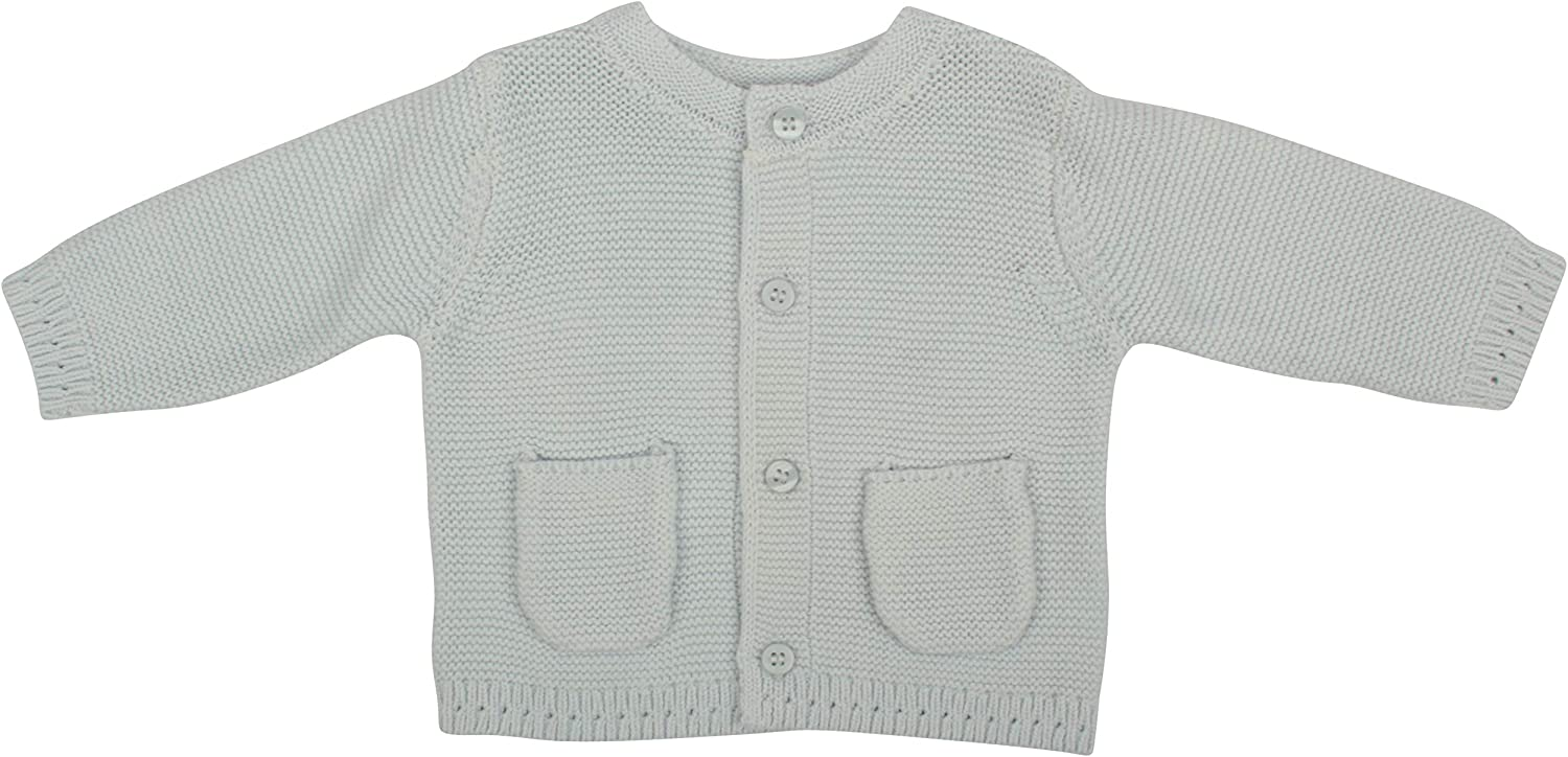 Ex-Store Mothercare Pure Cotton Garter Stitch Baby Boys Cardigan Blue
