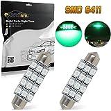 Partsam Green Car LED Lamps 42mm festoon 12SMD Interior Dome Map Lights Bulbs 12V 561 562 578, Pack of 2pcs