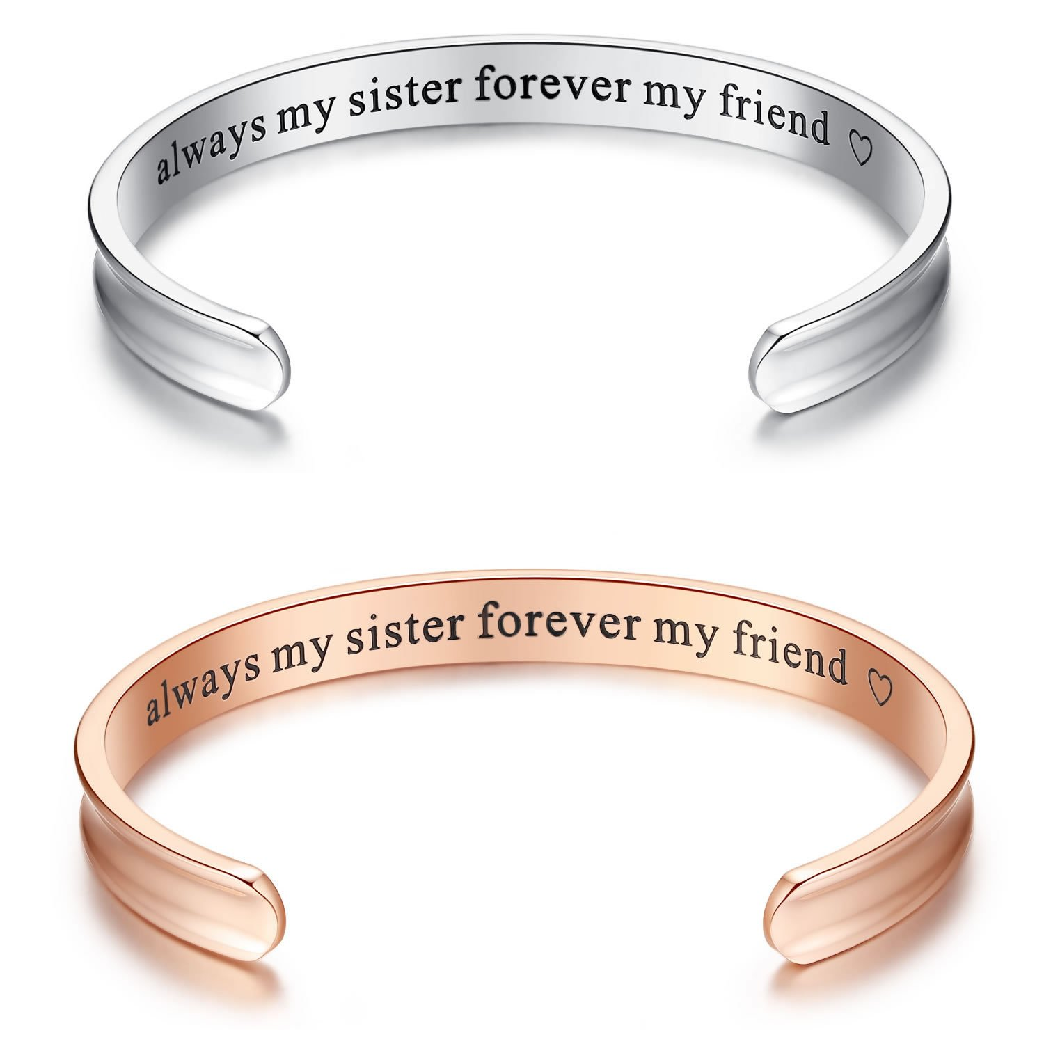 'Always my sister forever my friend' Grooved Cuff Bangle Bracelet, Jewelry Gifts for Sister, Friendship Sister Bracelet Gifts Jewelry Gifts for women Girls Birthday