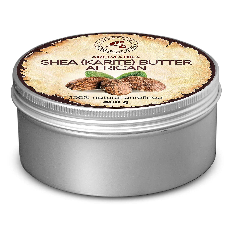 Shea Butter Kaltgepresst und Unraffiniert 400 g -100% Rein Und Natürlich Karité Body Butter - Afrika - Körperbutter - Intensive Pflege für Gesicht - Körper - Haare - Körperpflege Aromatika