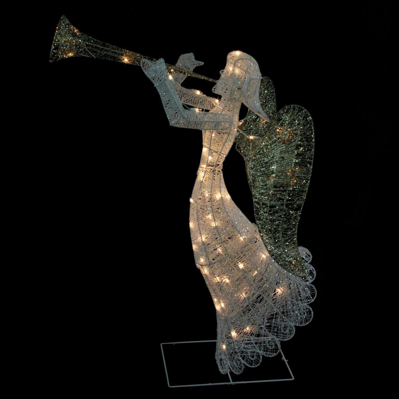 48'' Lighted Glittered Trumpeting Angel Christmas Yard Art Decoration