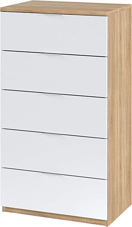 Comoda 5 Cajones, Sinfonier, Modelo Alaya, Acabado en Color Roble Canadian y Blanco Artik, 60 cm (Ancho) x 110 cm (Alto) x 40 cm (Fondo)